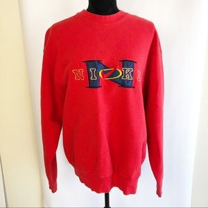 VTG Nike Sweatshirt Red Embroidered Logo Size XL